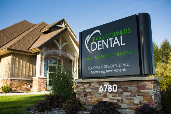 Texas Corners Dental custom lit monument sign