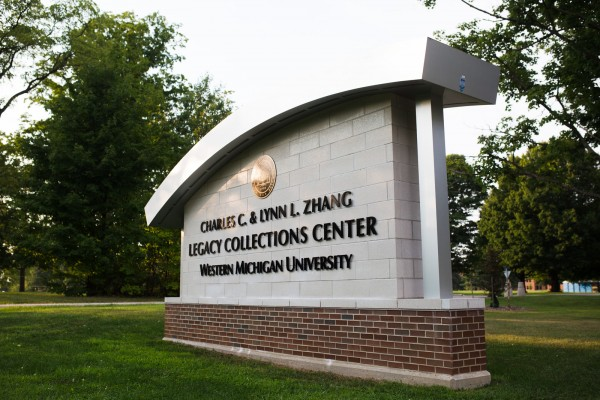 Western Michigan University Legacy Collections Center custom road sign