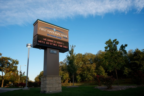 First National Bank custom monument sign with digital advertising electronic message center