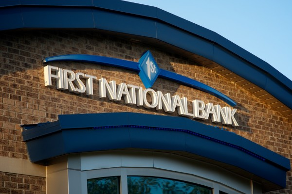 First National Bank custom wall sign