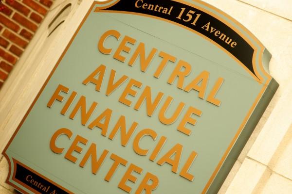 Central Avenue Financial Center illuminated custom wall plaque