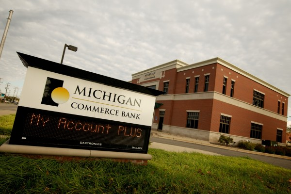 Michigan Commerce Bank custom road sign with LED message center