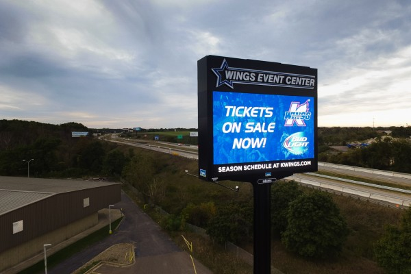 Wings Event Center custom highway sign with digital advertising LED message center