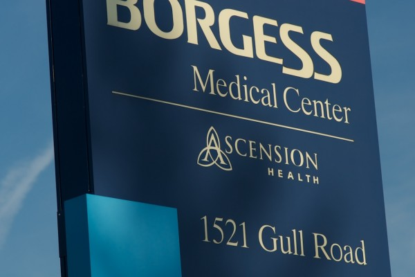 Borgess Medical Center custom road sign
