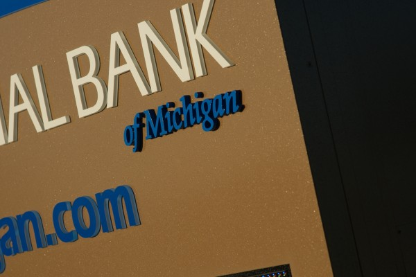 First National Bank of Michigan custom monument sign
