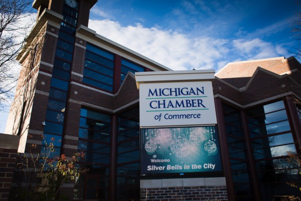 Michigan Chamber of Commerce custom monument sign with digital advertising LED message center